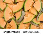 cantaloupe melon slices  full... | Shutterstock . vector #1069500338