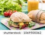 buns with seasonal vegetables... | Shutterstock . vector #1069500362