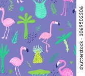 tropical seamless pattern with... | Shutterstock .eps vector #1069502306