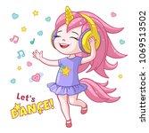 vector cartoon lets dance...   Shutterstock .eps vector #1069513502
