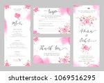 set of wedding invitation card... | Shutterstock . vector #1069516295