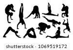 vector set of yoga silhouettes | Shutterstock .eps vector #1069519172