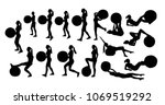 vector set of silhouettes with... | Shutterstock .eps vector #1069519292