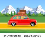 happy family traveling by car... | Shutterstock .eps vector #1069520498