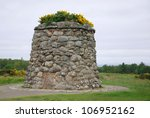 Culloden battle field memorial monument. The Battle of Culloden was the final confrontation of the 1745 Jacobite Rising.The conflict was the last pitched battle fought on British soil,
