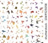 amorphous colored bit shapes...   Shutterstock .eps vector #1069525058