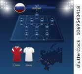 team russia soccer jersey or... | Shutterstock .eps vector #1069543418