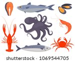 seafood set. salmon  mussels ... | Shutterstock .eps vector #1069544705