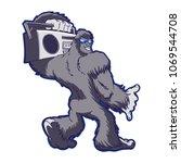 Stock photo bigfoot radio cartoon 1069544708