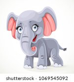 cute little cartoon elephant... | Shutterstock .eps vector #1069545092