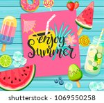 enjoy summer card with...   Shutterstock .eps vector #1069550258