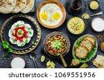 arabic cuisine  middle eastern... | Shutterstock . vector #1069551956