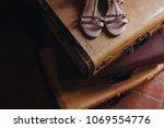 in the room on the floor old... | Shutterstock . vector #1069554776