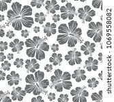 grey on white random hibiscus...   Shutterstock . vector #1069558082