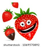 strawberry cartoon character... | Shutterstock .eps vector #1069570892