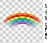 colorful rainbow in transparent ... | Shutterstock .eps vector #1069580126