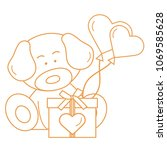 cute puppy with gift  hearts... | Shutterstock .eps vector #1069585628