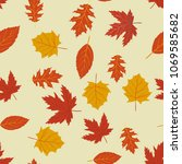 seamless pattern with autumn... | Shutterstock .eps vector #1069585682