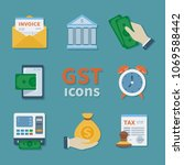 gst icons. set of finance flat... | Shutterstock .eps vector #1069588442