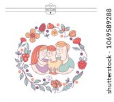 happy family. international... | Shutterstock .eps vector #1069589288