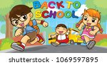 students are running into... | Shutterstock .eps vector #1069597895