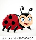 cute toy ladybug on a white...   Shutterstock .eps vector #1069606655