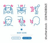 body aches thin line icons set  ... | Shutterstock .eps vector #1069608065