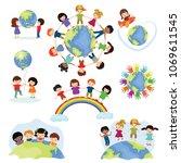 children world vector happy... | Shutterstock .eps vector #1069611545