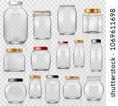 glass jar vector empty mason... | Shutterstock .eps vector #1069611698
