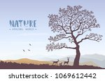 beautiful view on a mountains... | Shutterstock .eps vector #1069612442