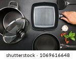 top view frying pan and pot on... | Shutterstock . vector #1069616648