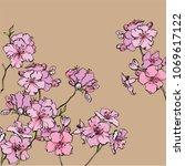 spring flowering azalea.... | Shutterstock .eps vector #1069617122