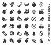cute fruit solid icon set  such ... | Shutterstock .eps vector #1069618082
