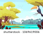 jungle landscape with monkey on ... | Shutterstock .eps vector #1069619006