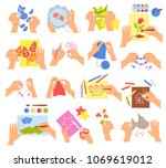 creative kids hands knitting... | Shutterstock .eps vector #1069619012