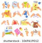 creative kids hands knitting... | Shutterstock .eps vector #1069619012