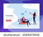 coworking landing page with... | Shutterstock .eps vector #1069619042