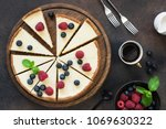 top view of cheesecake with... | Shutterstock . vector #1069630322