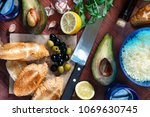 wine and toast with avocado...   Shutterstock . vector #1069630745