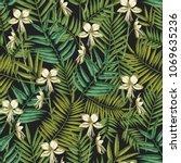 elegant hawaiian seamless... | Shutterstock .eps vector #1069635236