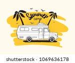 camper trailer or campervan... | Shutterstock .eps vector #1069636178