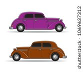 color old classic car vector... | Shutterstock .eps vector #1069637312