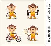 set of funny monkey sportsman...   Shutterstock .eps vector #1069637672