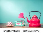 retro classic red kettle  old... | Shutterstock . vector #1069638092