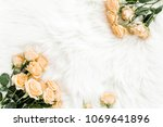 Stock photo pastel tea rose bouquet flowers on white background floral background minimal floral concept 1069641896