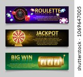 Gambling banners with Roulette Wheel and Casino Chips, lottery machine, gold fortune wheel set. Casino jackpot banner with Playing casino games. money, fortune and lottery. vector illustration - stock vector