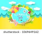 summer sale banner with sweet...   Shutterstock .eps vector #1069649162