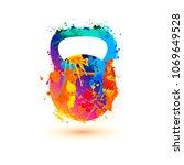 kettlebell of splash paint...   Shutterstock .eps vector #1069649528