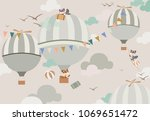 Stock photo balloons in the sky to the foxes in gentle tones 1069651472