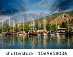 city of fethiye and harbours...   Shutterstock . vector #1069658036